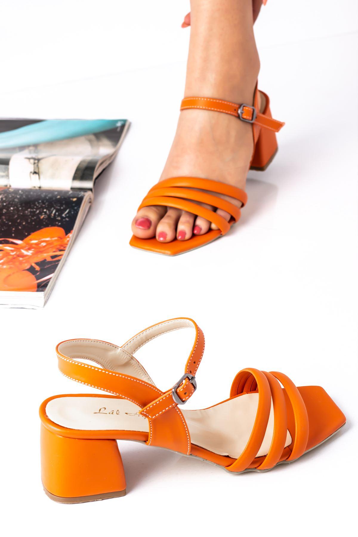 Kadın Biyeli Klasik Topuklu Ayakkabı-turuncu