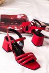 Kadın Biyeli Klasik Topuklu Ayakkabı-Kırmızı